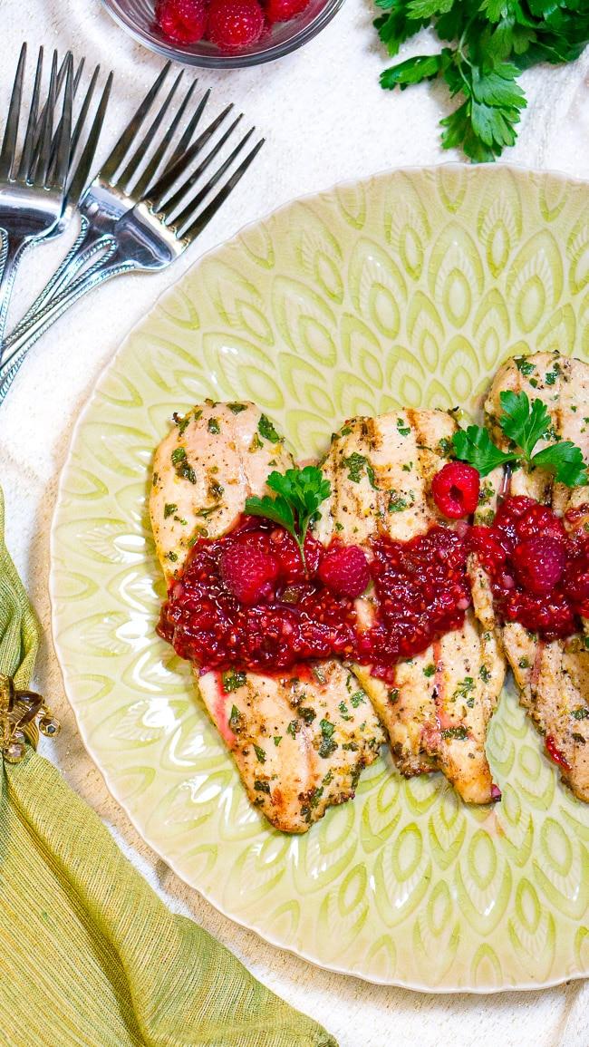 Grilled Chicken with Raspberry Balsamic Glaze