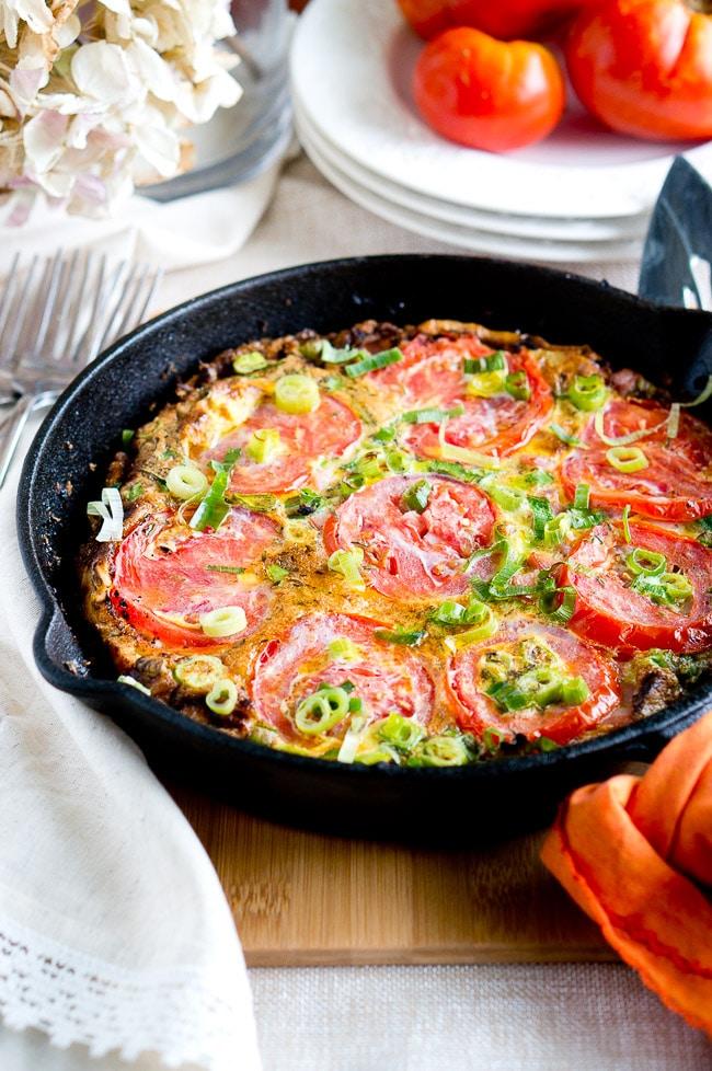 Potato, Ham and Tomato Frittata - Delicious Meets Healthy