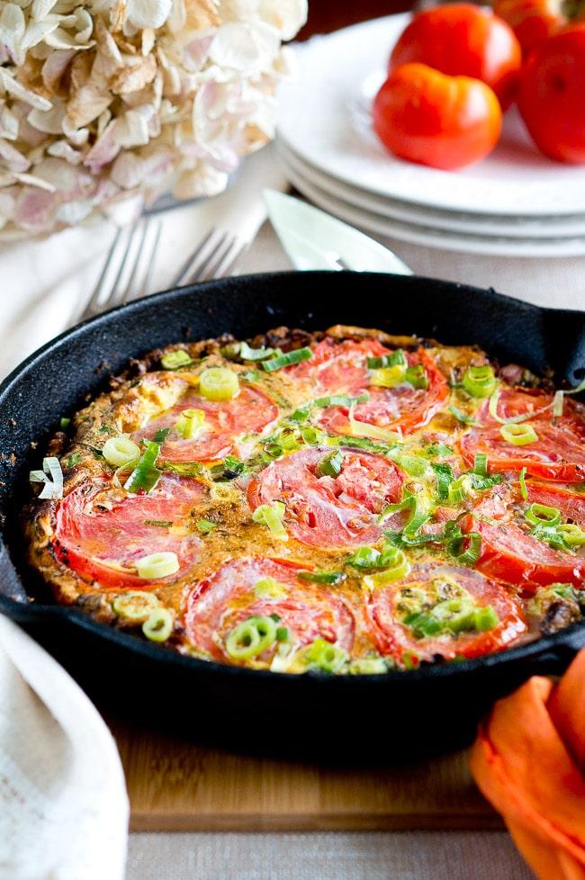 Potato, Ham and Tomato Frittata | Delicious Meets Healthy