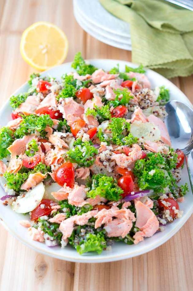 Salmon Quinoa and Kale Salad