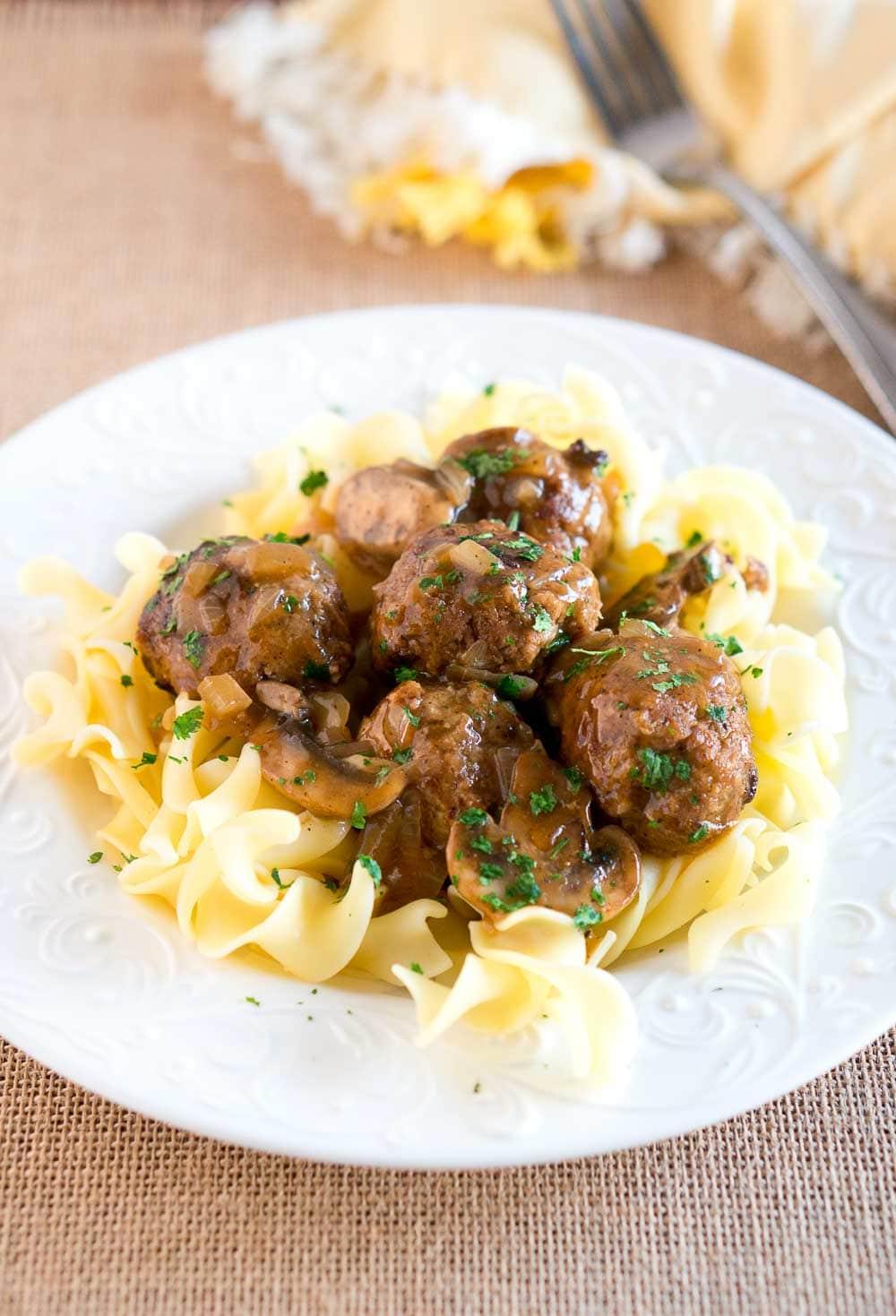 Salisbury Steak Meatballs with Mushroom Gravy