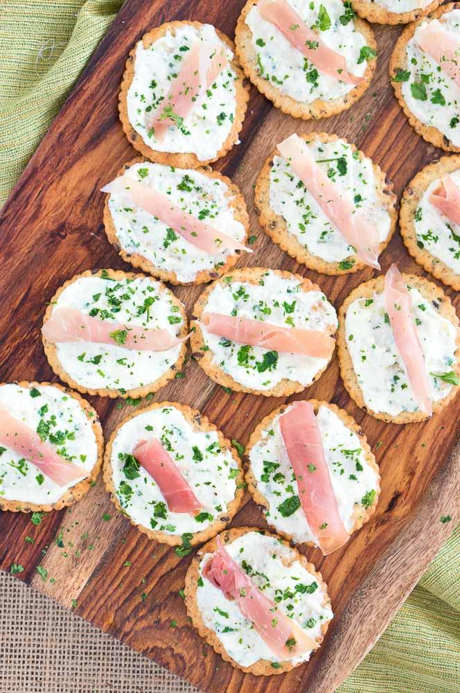 Ricotta and Prosciutto Cracker Appetizers