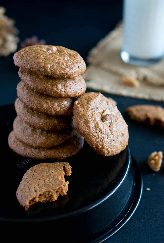 A close up of paleo walnut cookies