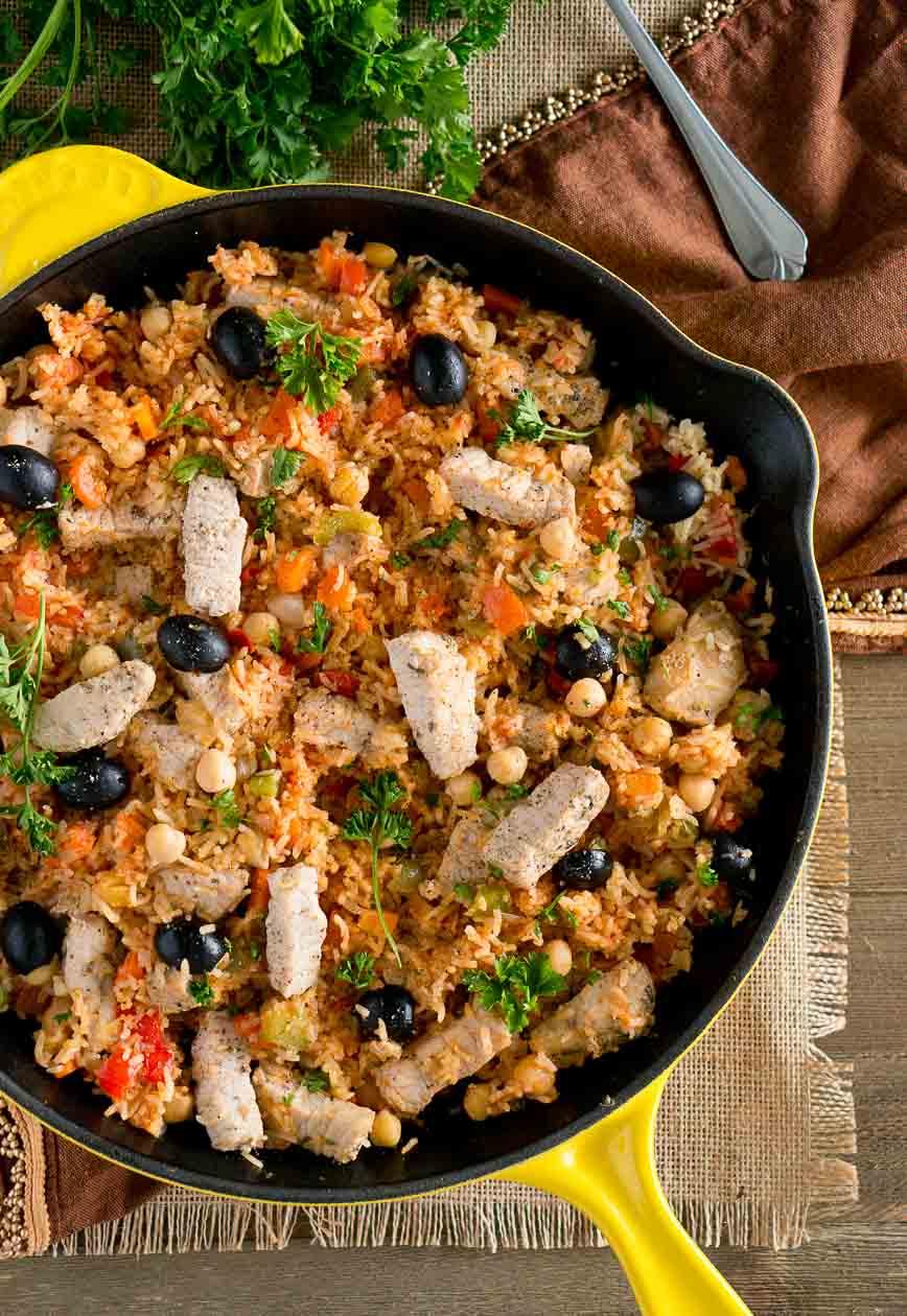One Skillet Mediterranean Pork and Rice