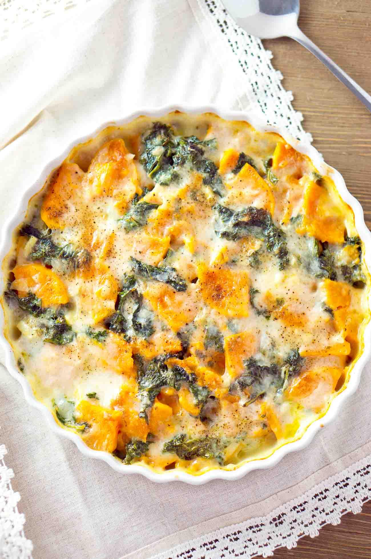 sweet potato and kale gratin