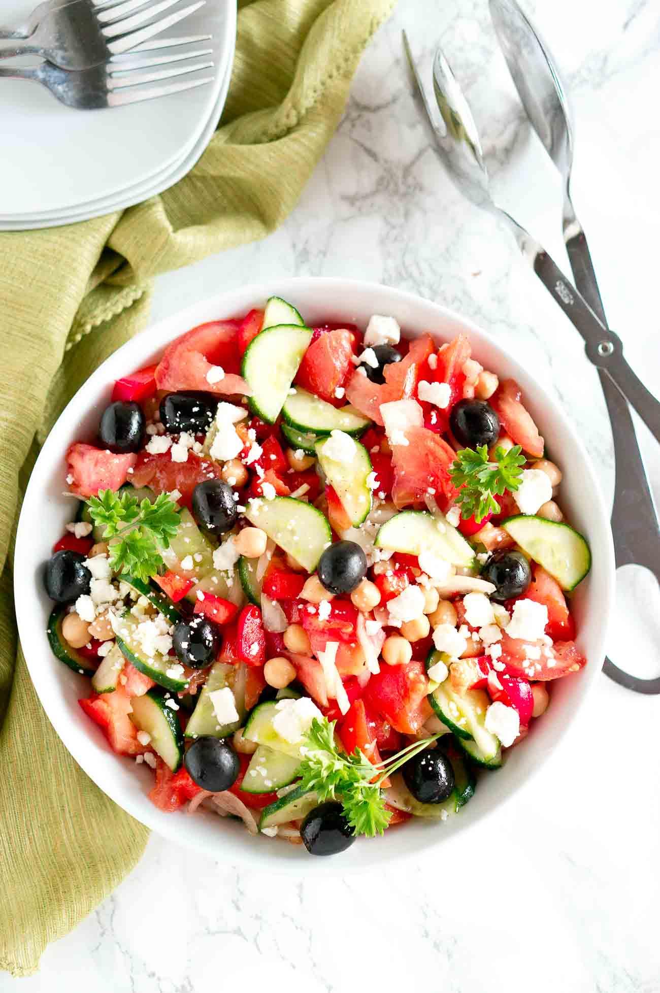 Top shot of the best Greek Salad - horiatiki salad in a bowl