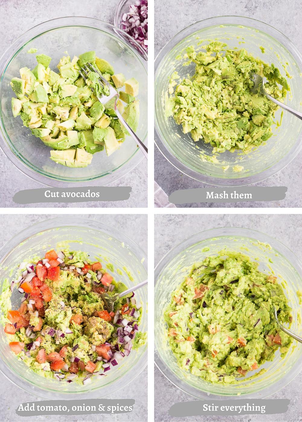 process shots of making guacamole