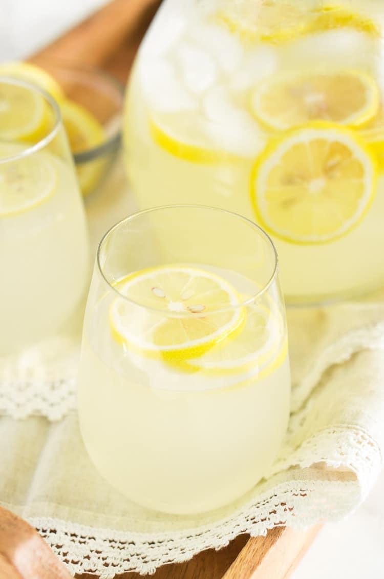 close up shot of lemonade ub a glass pitcher