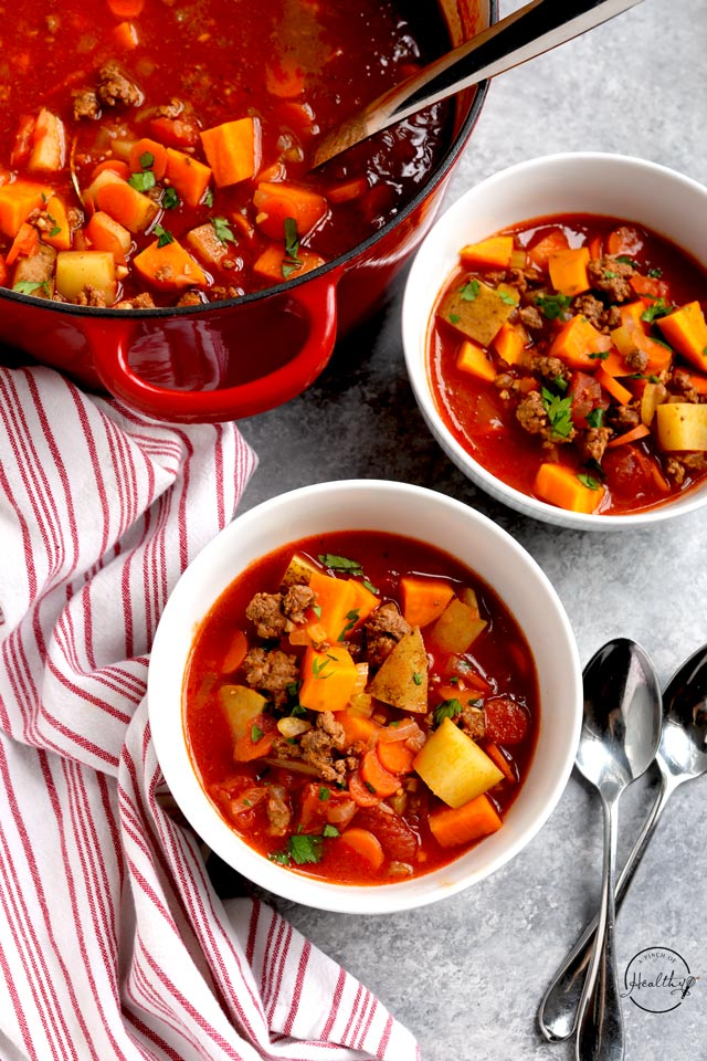 bowls of healthy hamburger soup (a Whole30 dinner recipe)