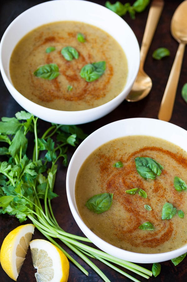 bowls of spicy green soup