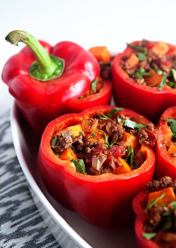 Whole30 stuffed peppers with chipotle sauce