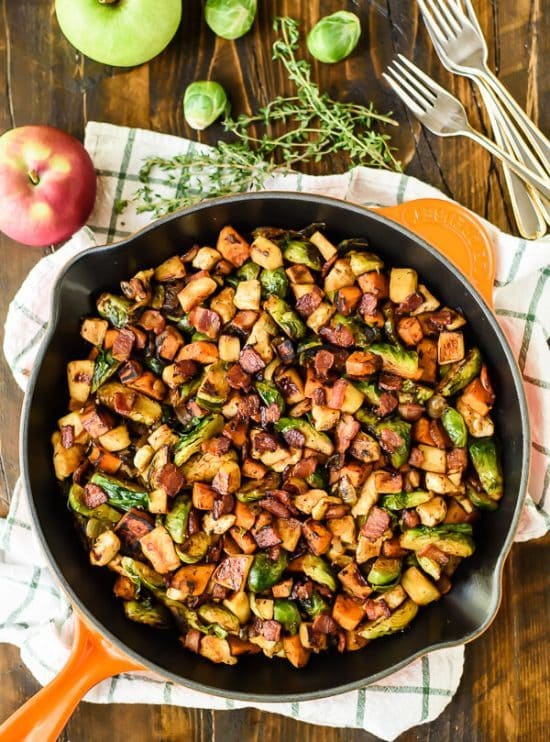 chicken skillet dinner with Brussels sprouts and sweet potatoes