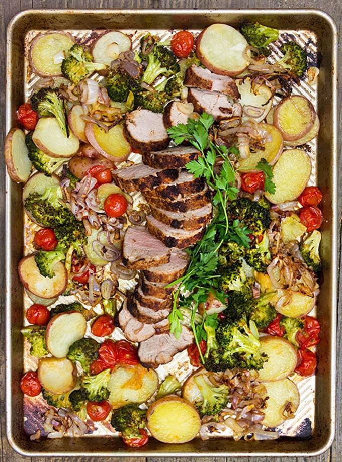 Whole30-compliant sheet pan pork dinner