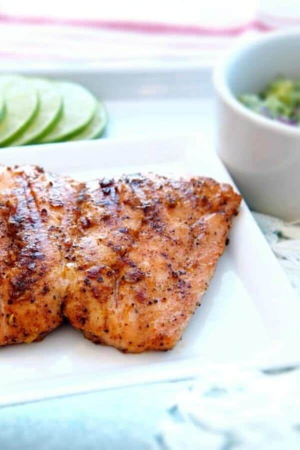 Whole30 grilled salmon with avocado salsa
