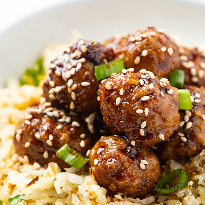 Keto Turkey meatballs over cauliflower rice