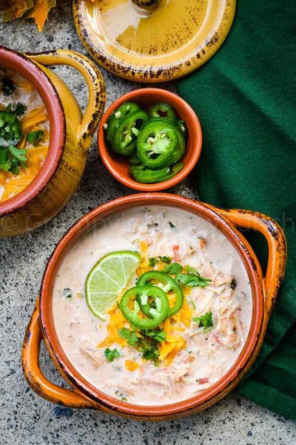 easy Instant Pot recipe - chicken taco soup in soup crock