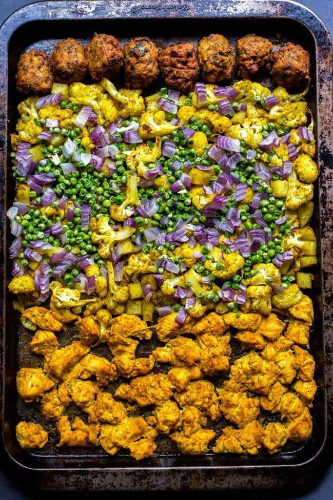Chicken Tandoori on a sheet pan - meal prep meal