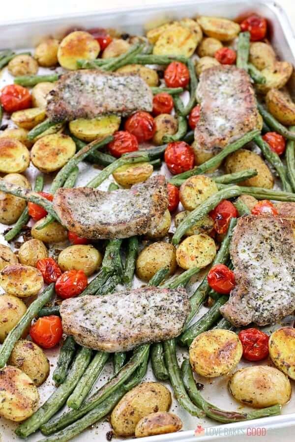 Sheet Pan Dinner - Italian Pork Chop and Veggies