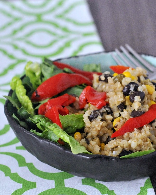 One Skillet Veggie Bean Burrito Bowls