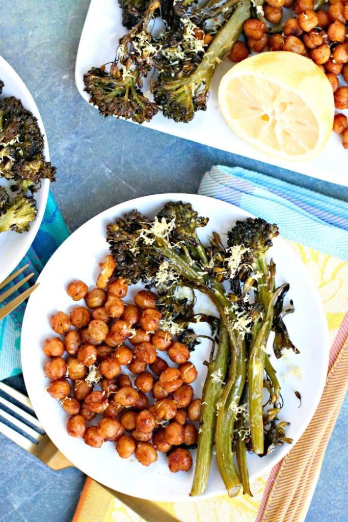 Vegan Chickpea Broccolini Sheet Pan Dinner