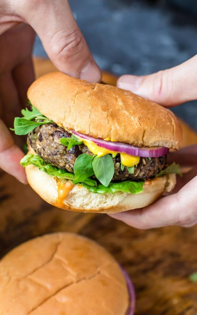 A close up of a Quinoa Black Bean Veggie Burger