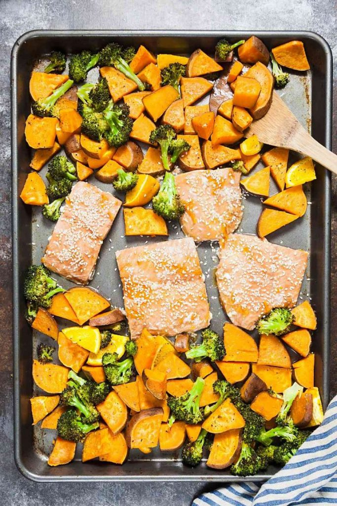 Sheet Pan Orange Glazed Salmon with Sweet Potatoes
