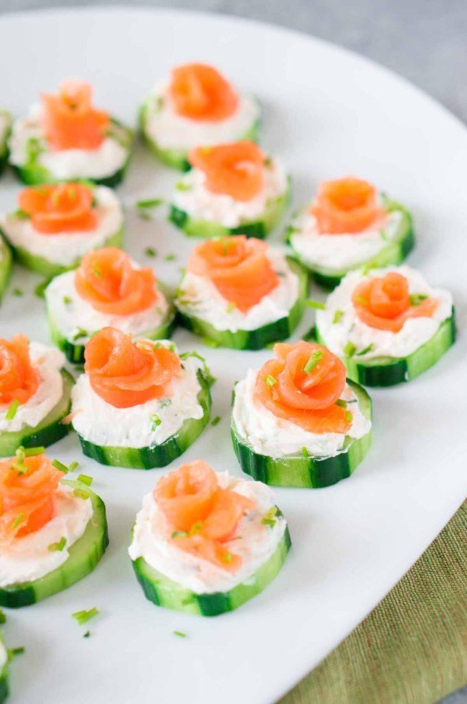 smoked salmon cucumber bites