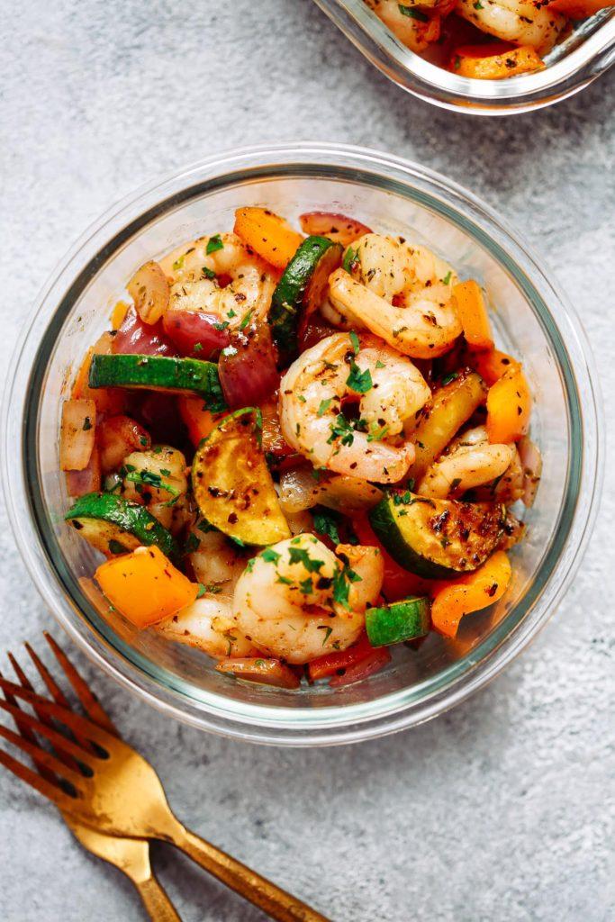 Garlic Shrimp and Veggies Meal Prep Bowls