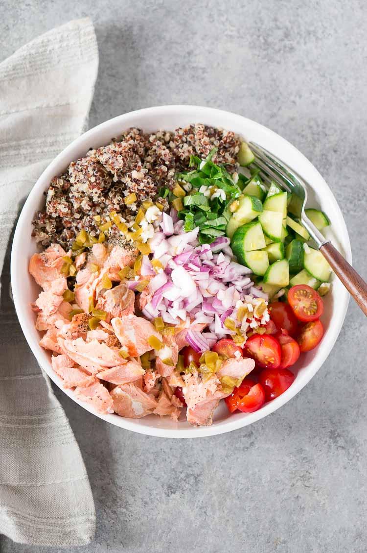 process shot of quinoa salad with salmon