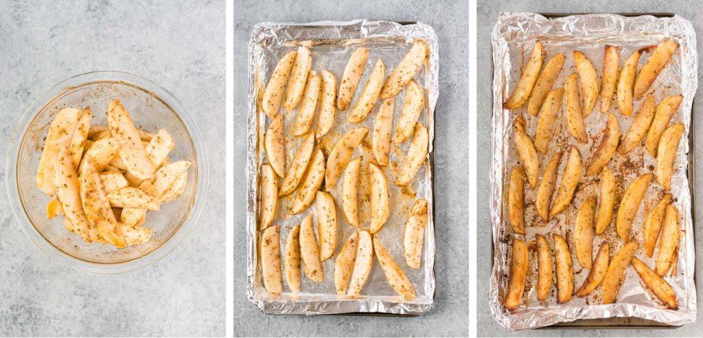 baked potato wedges process shots
