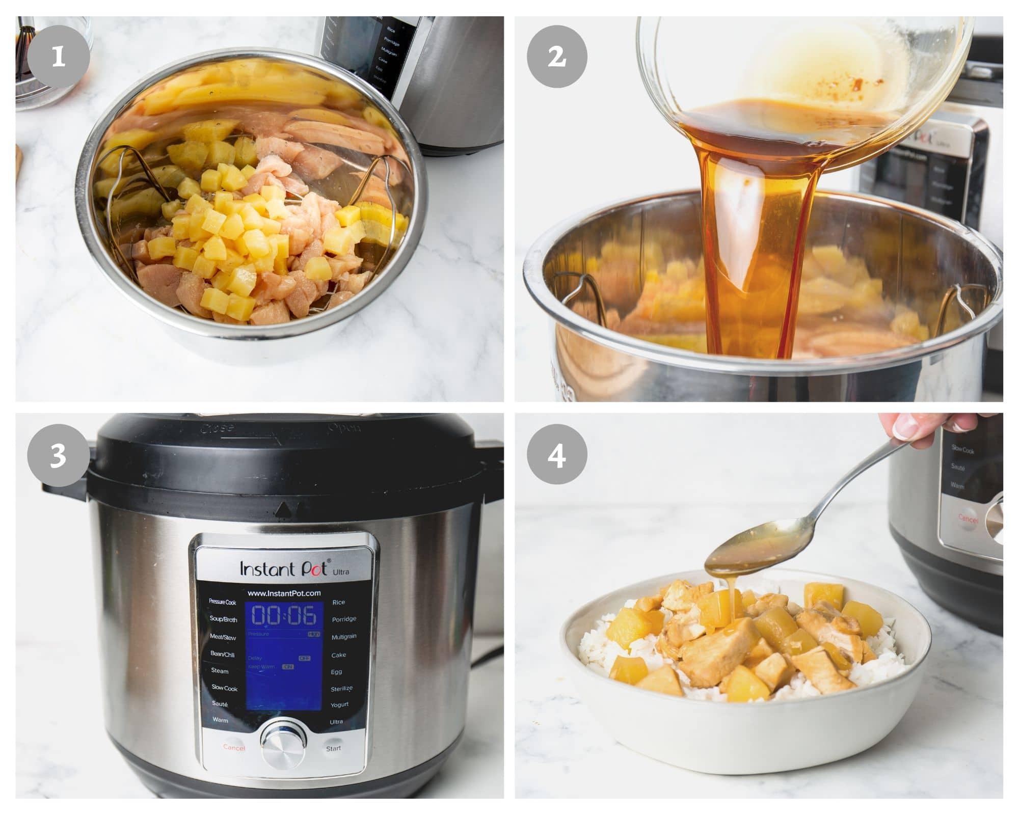 instant pot hawaiian chicken - process shots