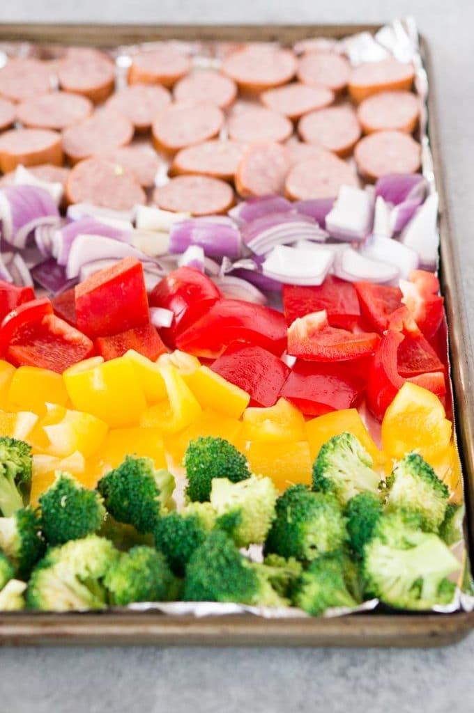 rainbow roasted vegetables and sausage