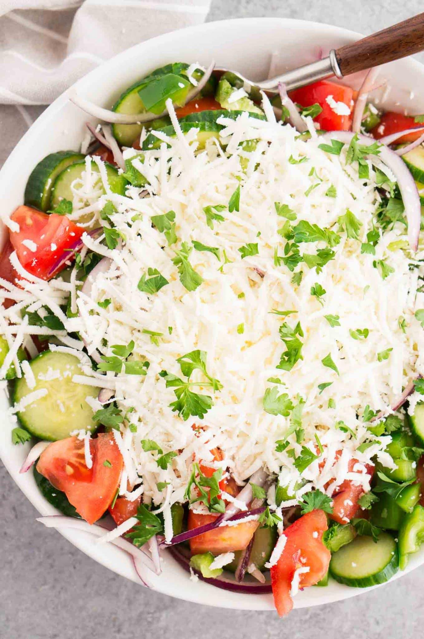 close up image of shopska salad