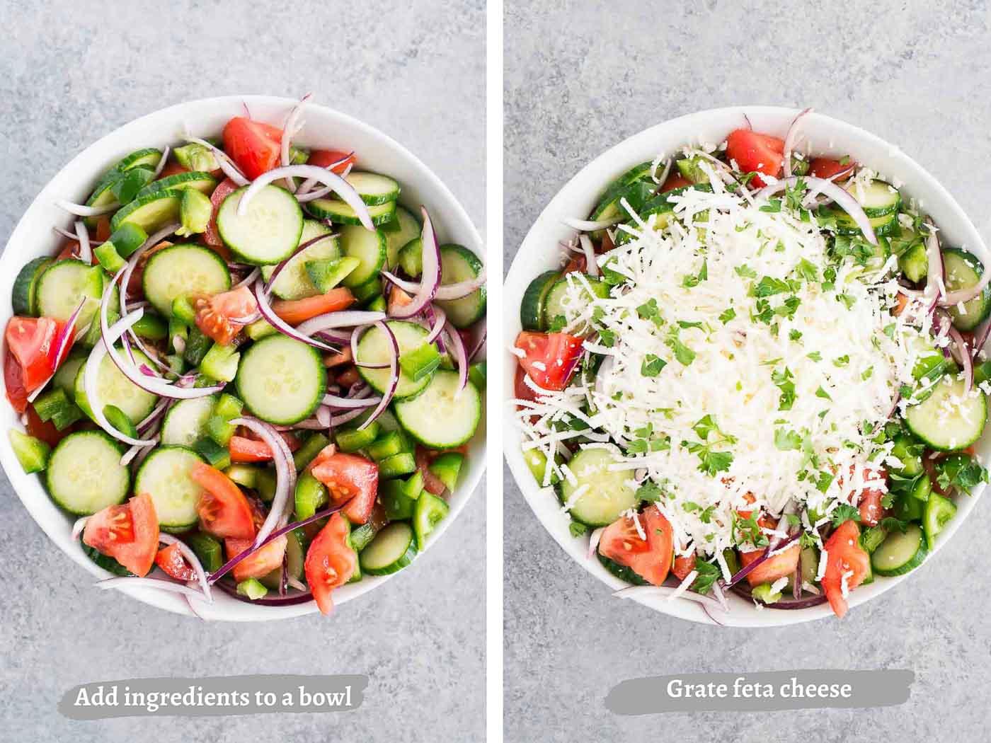 how to make shopska salad - process images