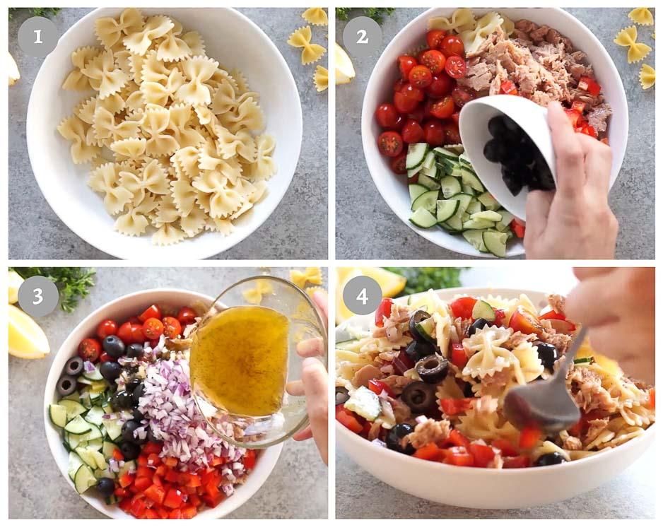 tuna pasta salad - process shots