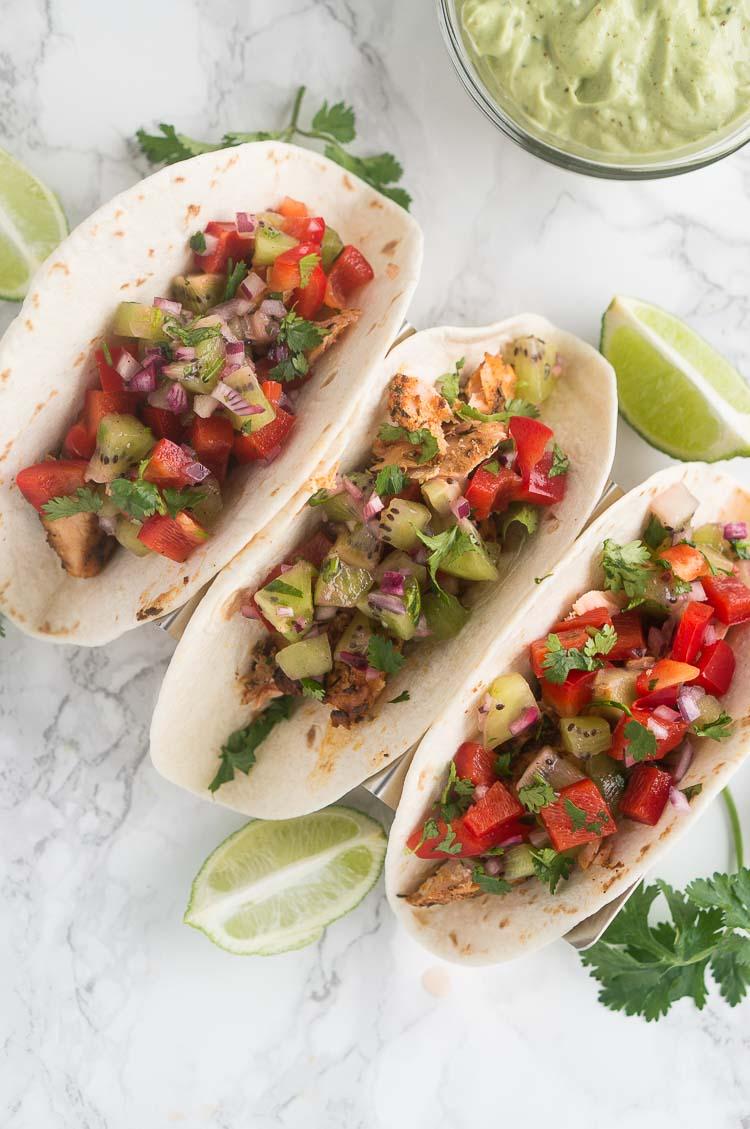 salmon tacos with avocado sauce
