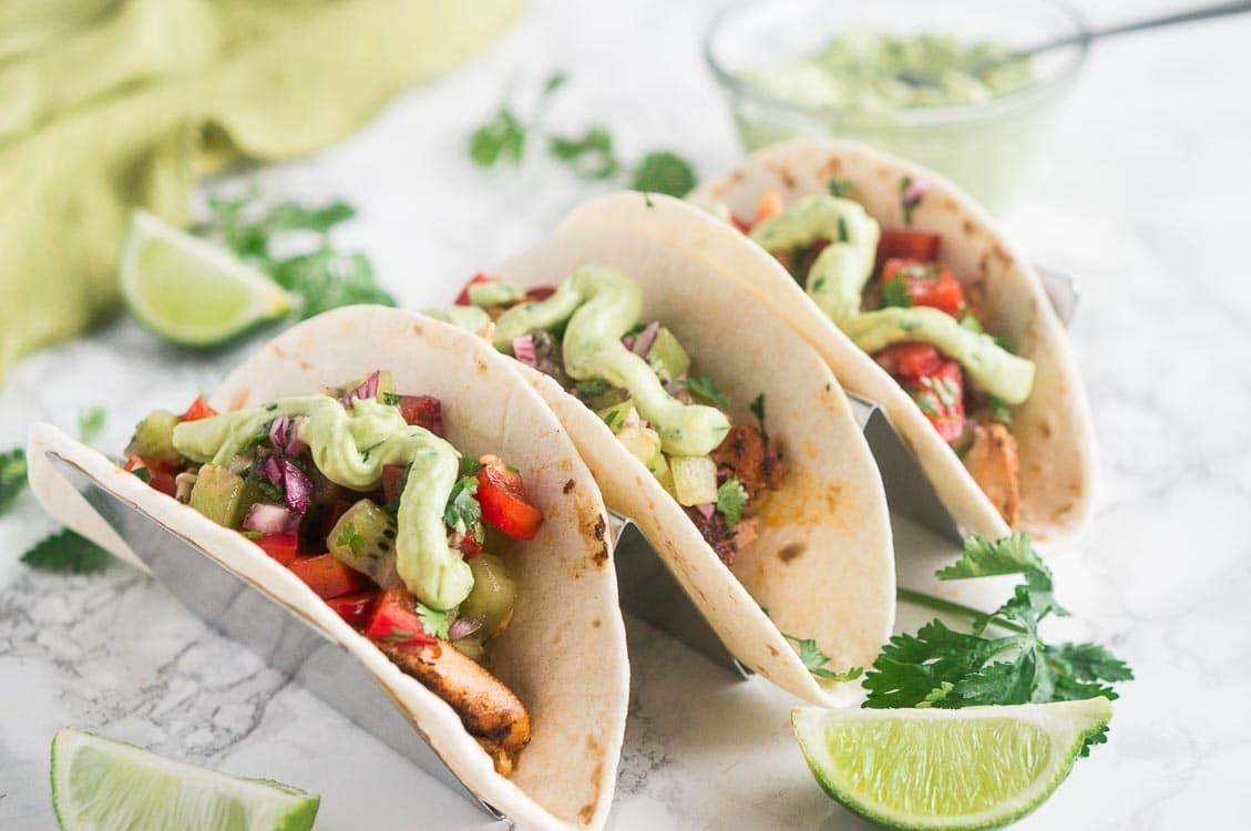 salmon tacos with salsa