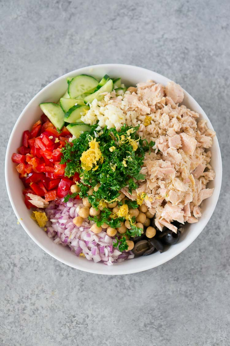 tuna salad ingredients in a bowl