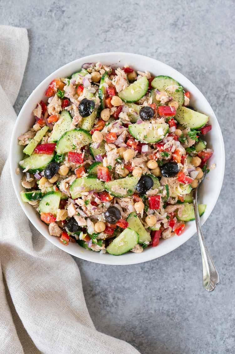 mediterranean tuna salad in a bowl