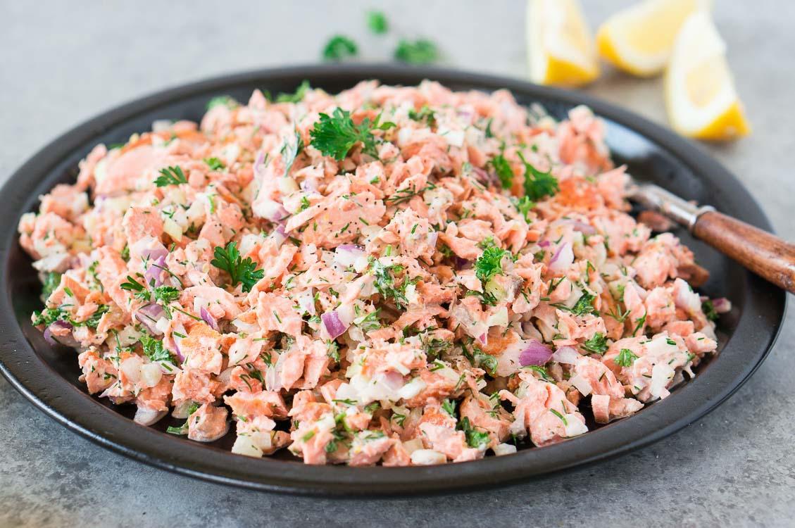 salmon lunch idea - salad on a plate