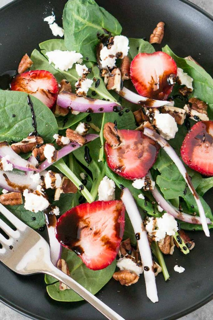 strawberry and spinach salad - close up