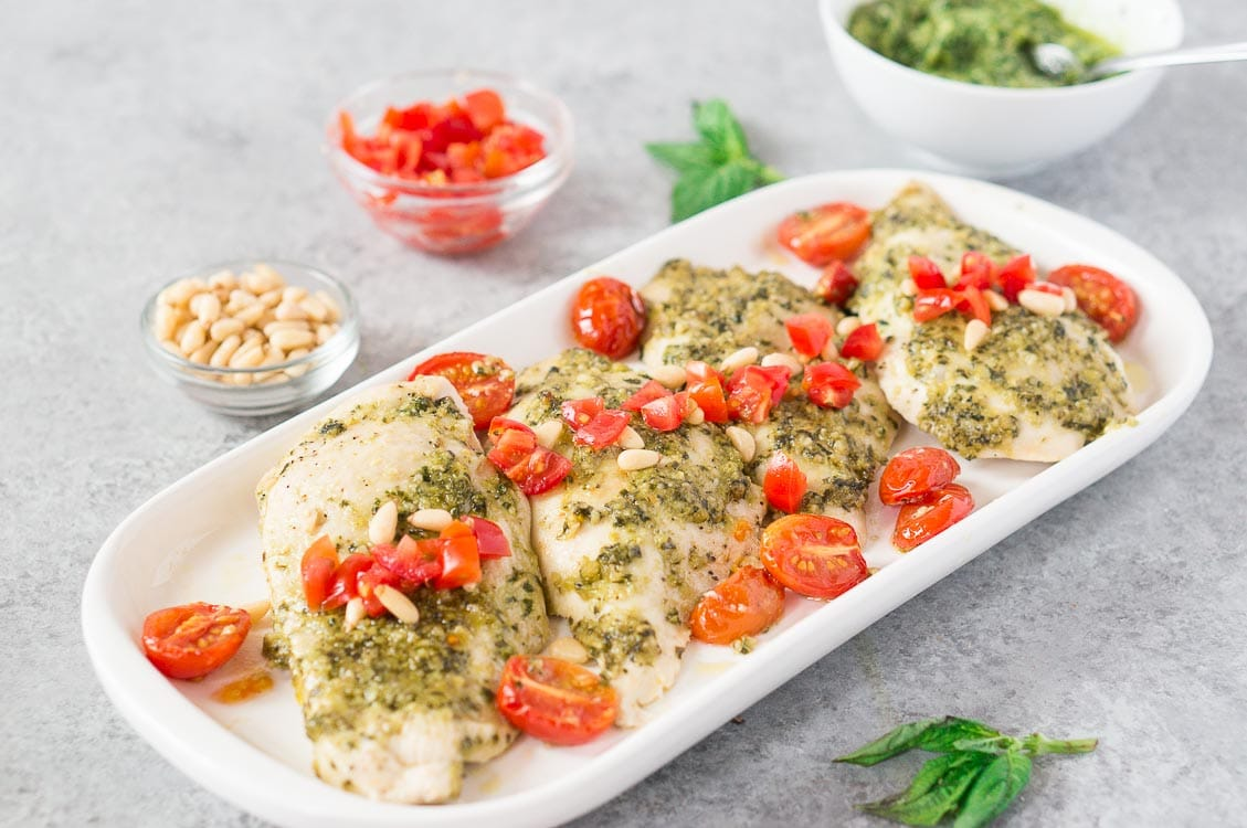 pesto chicken breast baked with tomatoes