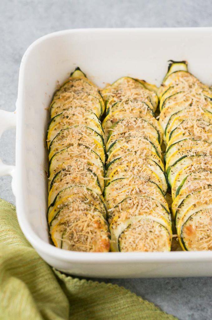 squash casserole made with zucchini squash and summer squash in a casserole dish
