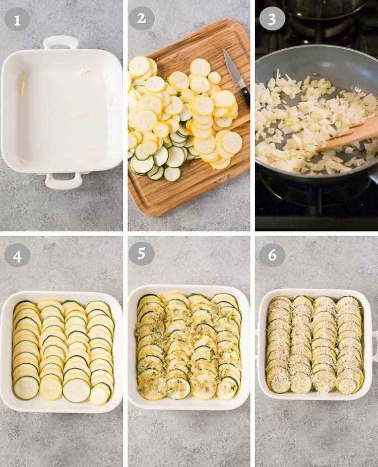 squash casserole process shots