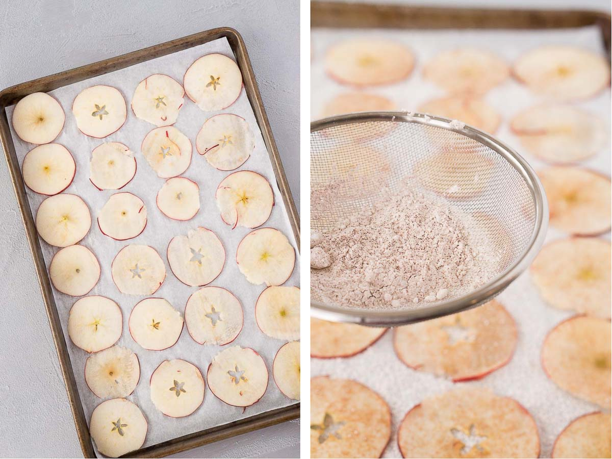 how to make apple chips in the oven - step by step shots