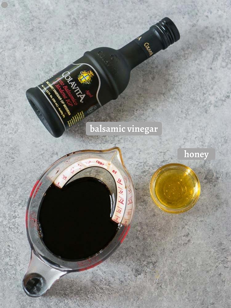 balsamic glaze ingredients on a board