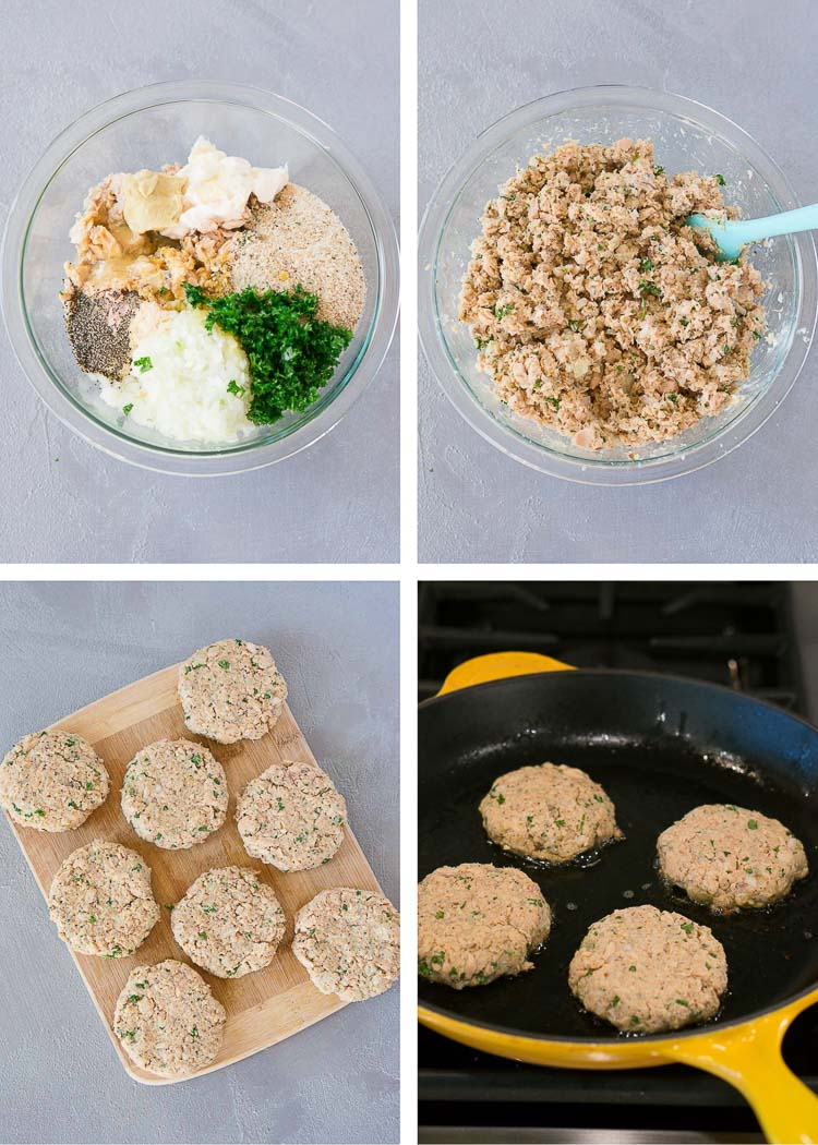 how to make salmon patties - process shots of each step