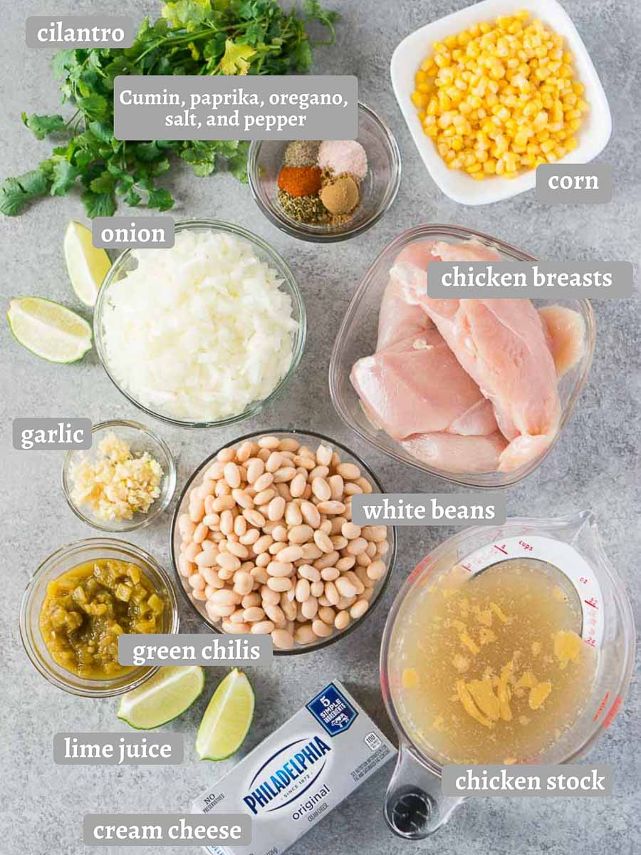 ingredients for white bean chicken chili