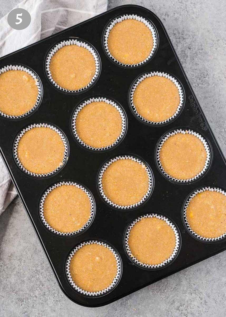 honey cornbread muffins in muffin pan
