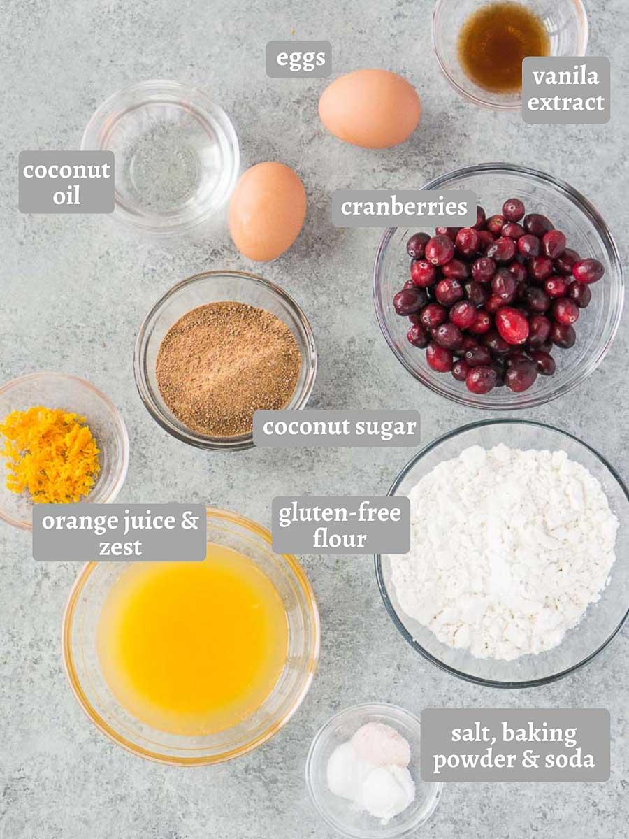 ingredients for orange cranberry muffins (gluten-free)